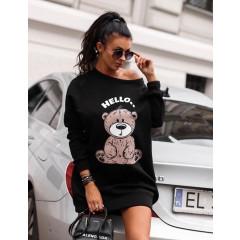 Γυναικείο μπλουζοφόρεμα με στάμπα αρκουδάκι 3463 μαύρο