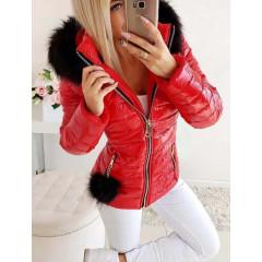 Γυναικείο μπουφάν με φούντα και γούνινη κουκούλα 81299 κόκκινο