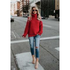 Γυναικείο πουλόβερ ζιβάγκο 00499 κόκκινο