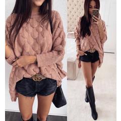 Γυναικείο χαλαρό πουλόβερ 00338 ροζ