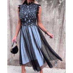 Γυναικείο φόρεμα με τούλι 3160 γαλάζιο