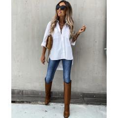 Γυναικείο μακρύ πουκάμισο  5304 άσπρο