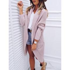 Γυναικεία ζακέτα με τσέπες 8098 ροζ
