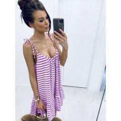 Γυναικείο εξώπλατο φόρεμα ριγέ 5120 λίλα