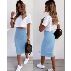Γυναικεία ψηλόμεση φούστα 5195 γαλάζια