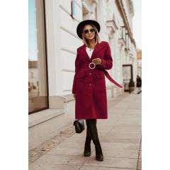 Γυναικείο παλτό με ζώνη 5373 μπορντό