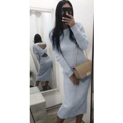 Γυναικείο πλεκτό μακρύ φόρεμα 1792 γκρι