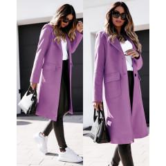 Γυναικείο παλτό μίντι με φόδρα 5361 μωβ