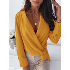 Γυναικείο κρουαζέ πουκάμισο με φιόγκο 3756 κίτρινο