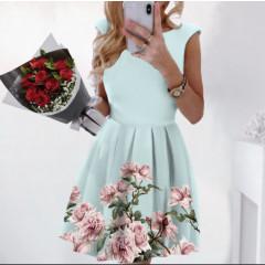 Γυναικείο φόρεμα με φλοράλ print 2699 γαλάζιο