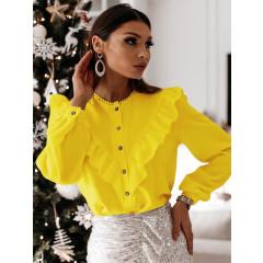Γυναικείο πουκάμισο με εντυπωσιακό ντεκολτέ 3963 κίτρινο