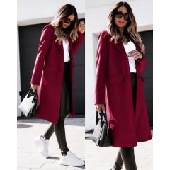 Γυναικείο παλτό μίντι με φόδρα 5361 μπορντό
