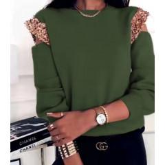Γυναικεία μπλούζα με παγιέτες 2688 πράσινη