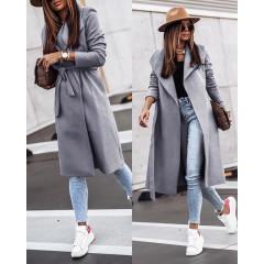 Γυναικείο μακρύ παλτό 3821 γκρι