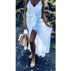 Γυναικείο φόρεμα με βολάν 5168 άσπρο
