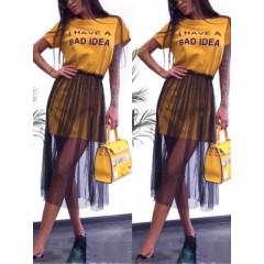 Γυναικείο μπλουζοφόρεμα με τούλι 5483 κίτρινο