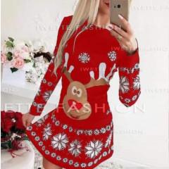 Γυναικείο φόρεμα με τάρανδο 9772 κόκκινο