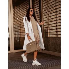 Γυναικείο παλτό με κουμπιά από τις δυο πλευρές 5356 άσπρο