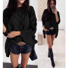 Γυναικείο χαλαρό πουλόβερ 00338 μαύρο