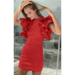 Γυναικείο φόρεμα με βολάν 1918 κόκκινο