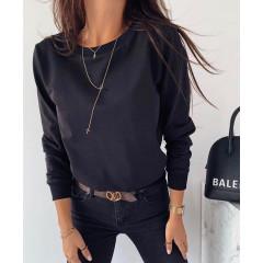 Γυναικείο μονόχρωμο φούτερ 3430 μαύρο