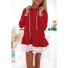 Γυναικείο μπλουζοφόρεμα με δαντέλα 19899 κόκκινο