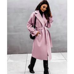 Παλτό με φόδρα και ζώνη 5406 ροζ