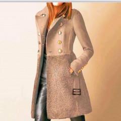 Εντυπωσιακό παλτό με φόδρα 5416 μπεζ