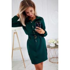 Γυναικείο φόρεμα με κουμπιά και ζώνη 3893 πράσινο