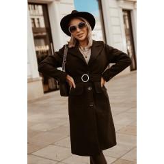 Γυναικείο παλτό με ζώνη 5373 μαύρο