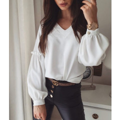 Γυναικεία μπλούζα με V ντεκολτέ 3957 άσπρη