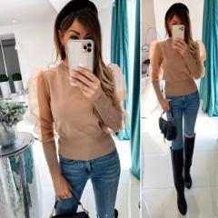 Γυναικεία μπλούζα με μανίκι τούλι 3460 μπεζ