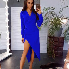 Γυναικείο ασύμμετρο φόρεμα 7115 μπλε/φόρεμα