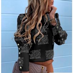 Γυναικείο πουκάμισο με χρυσά κουμπιά 382002 μαύρο