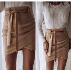 Γυναικεία σουέτ φούστα με ζώνη 333 καμηλό