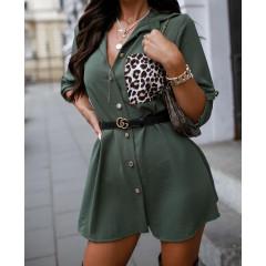 Γυναικείο μπλουζοφόρεμα με εντυπωσιακή τσέπη 2553 σκούρο πράσινο
