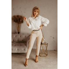 Γυναικείο παντελόνι με ζώνη 5553 μπεζ
