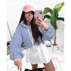 Γυναικείο φούτερ με όψη πουκαμίσου 2836 γαλάζιο