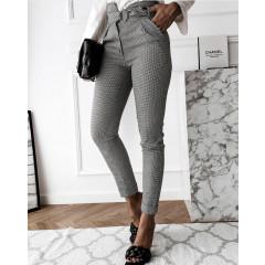 Γυναικείο παντελόνι πτι καρό με ζώνη P050