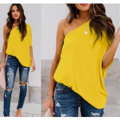 Χαλαρή μπλούζα με έναν ώμο 5084 κίτρινη