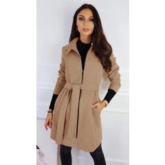 Γυναικείο παλτό με φερμουάρ και ζώνη 3829 μπεζ