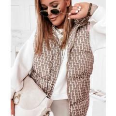 Γυναικείο αμάνικο μπουφάν με print 8205801 μπεζ
