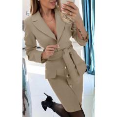 Γυναικείο φόρεμα με ζώνη και κουμπιά 3948 μπεζ