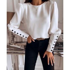 Γυναικεία μπλούζα με κουμπιά στην πλάτη και στο μανίκι 3820 άσπρη