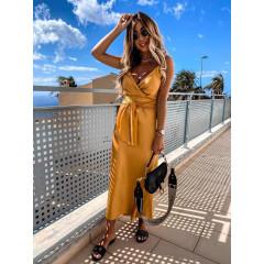 Γυναικείο φόρεμα σατέν 5160 μουσταρδί