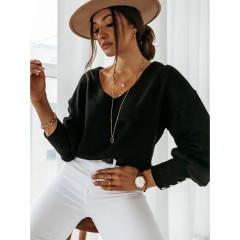 Γυναικεία μπλούζα με κουμπιά στο μανίκι 4117 μαύρη