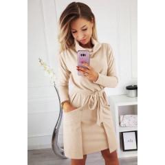 Γυναικείο φόρεμα με ζιβάγκο γιακά 3759 μπεζ