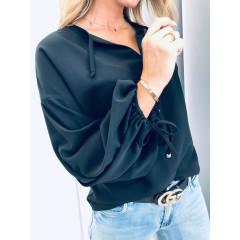 Γυναικείο πουκάμισο με κορδόνια 3130 μαύρο