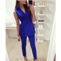 Γυναικείο σετ παντελόνι και αμάνικο σακάκι με ζώνη 9521 μπλε