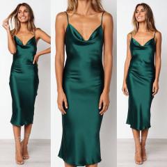 Γυναικείο σατέν φόρεμα μίντι 3956 πράσινο
